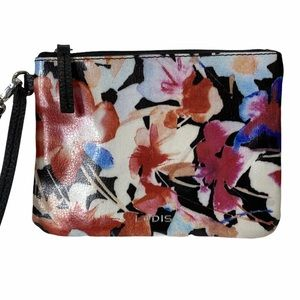 LODIS Floral Makeup Wristlet Waxed Leather NWOT